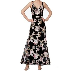 XSCAPE Floral Embroidered Gown BLACK Size 14 #84